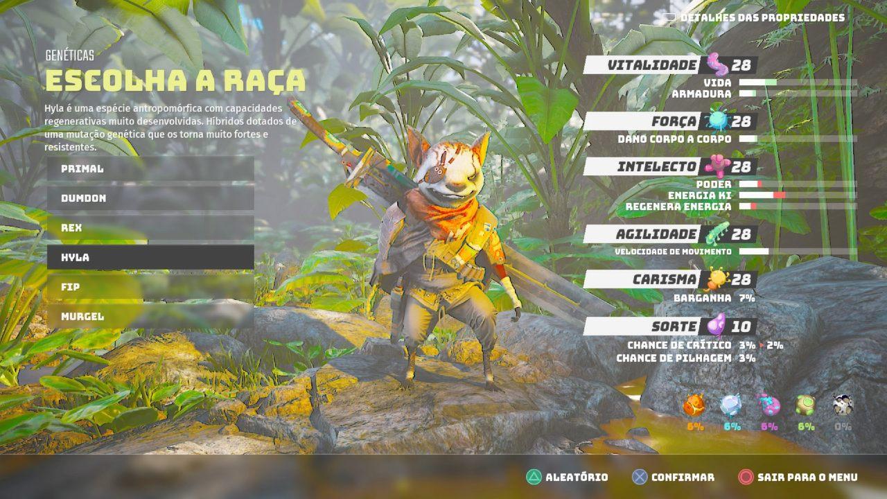 Tela de customização de personagens em Biomutant