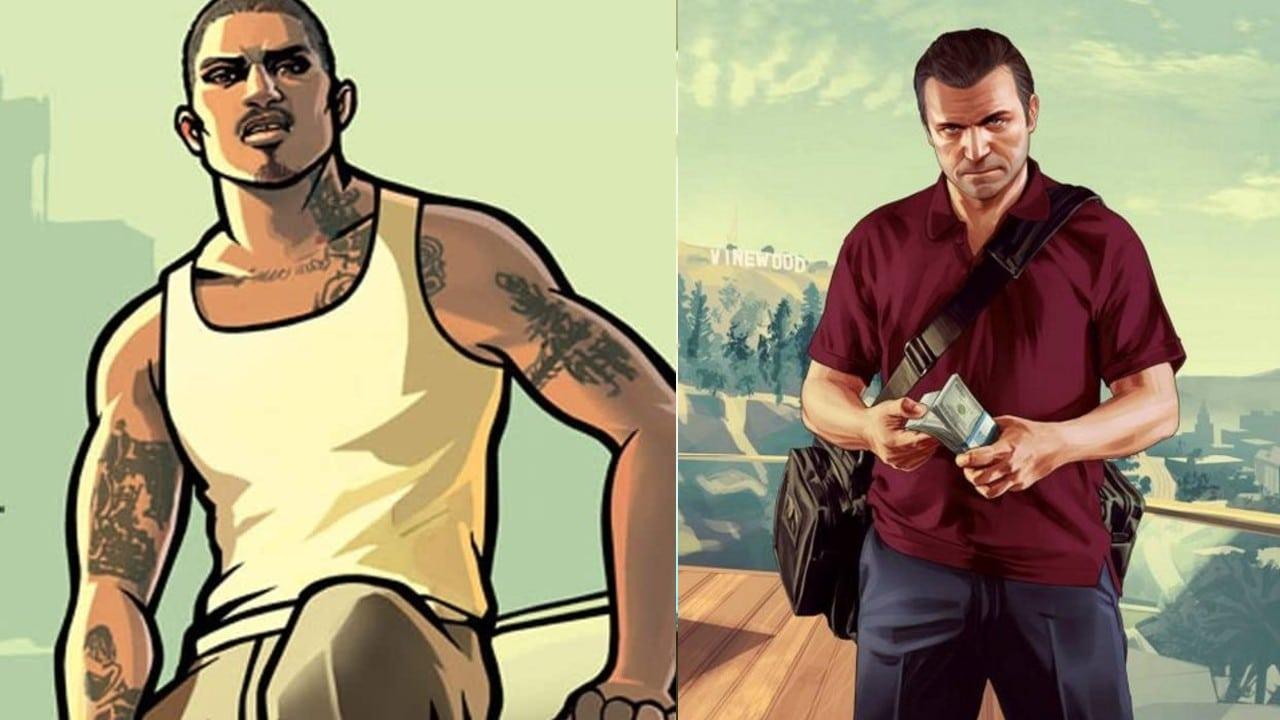 CJ e Michael de Santa - GTA V e GTA San Andreas - top 10 jogos de mundo aberto do PlayStation