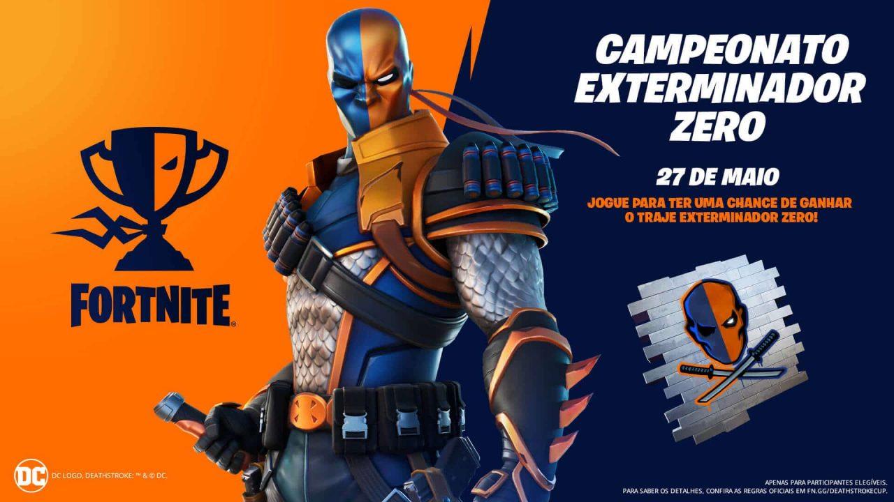 Imagem de capa do campeonato do Exterminador em Fortnite, com o personagem na frente e a descrição do torneio