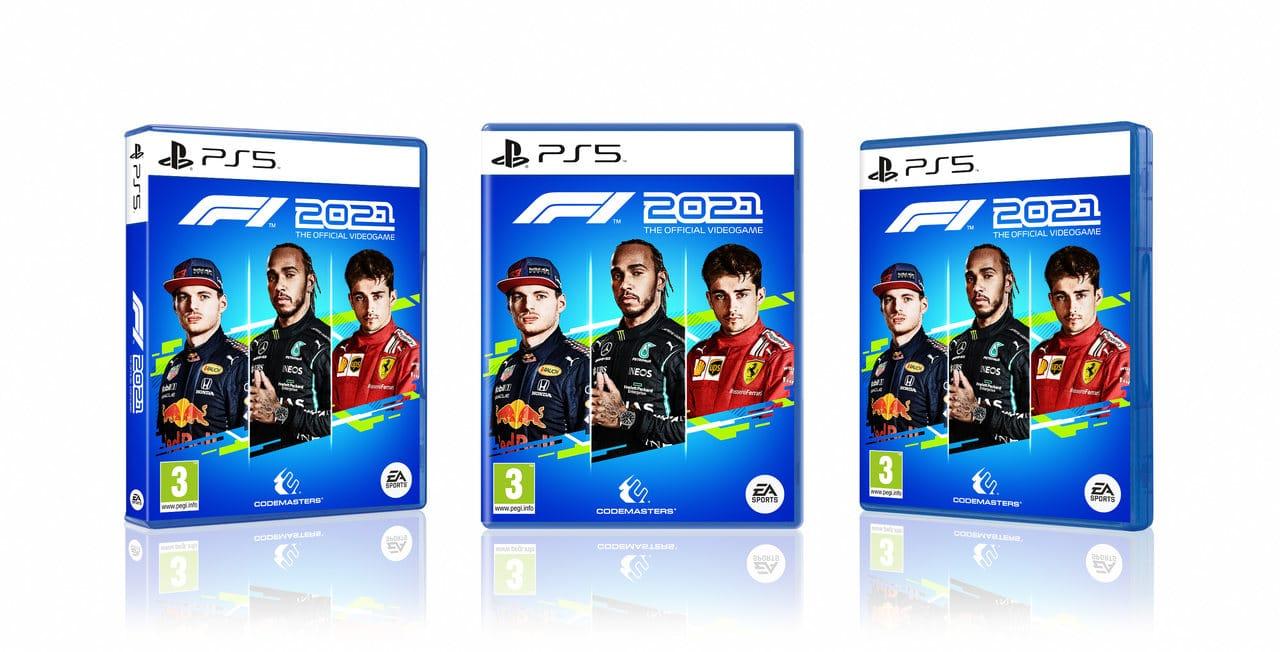 Imagem das capas de F1 2021 no PS4 com os pilotos Lewis Hamilton, Max Verstappen e Charles Leclerc