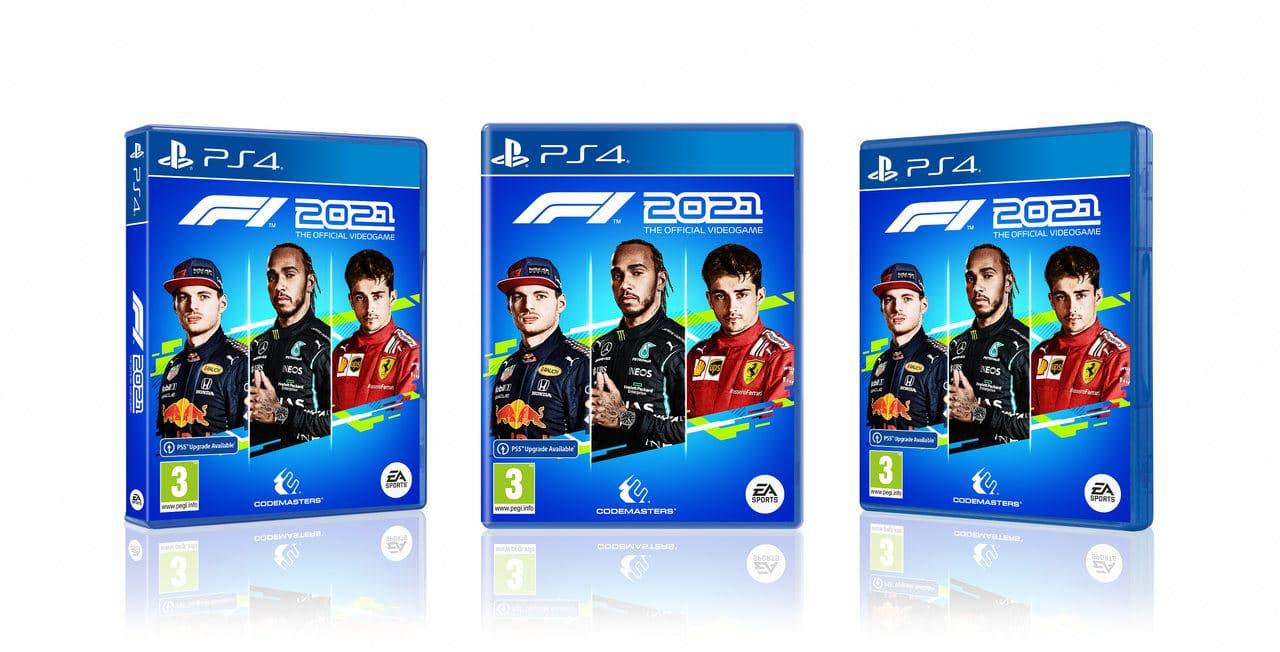 Imagem das capas de F1 2021 no PS5 com os pilotos Lewis Hamilton, Max Verstappen e Charles Leclerc