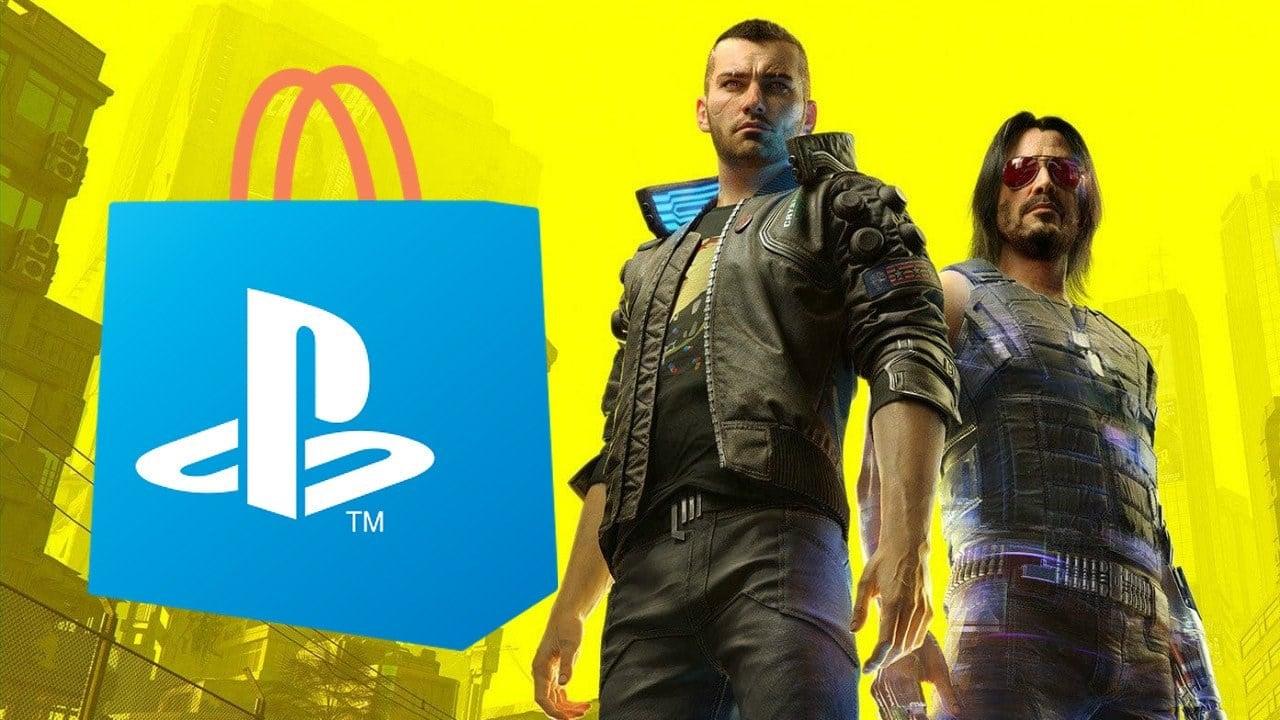 Dois personagens de Cyberpunk 2077 e fundo amarelo.