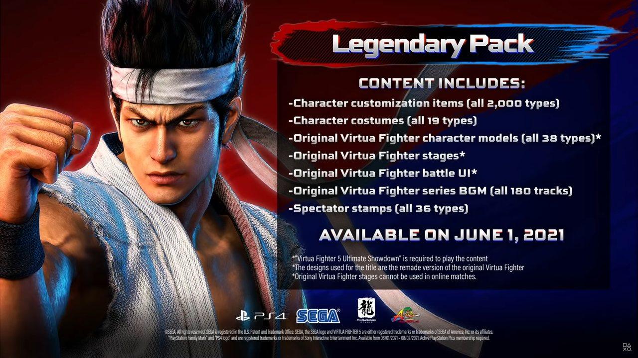 Imagem com um lutador de Virtua Fighter 5 e a descrição do DLC do jogo ao lado