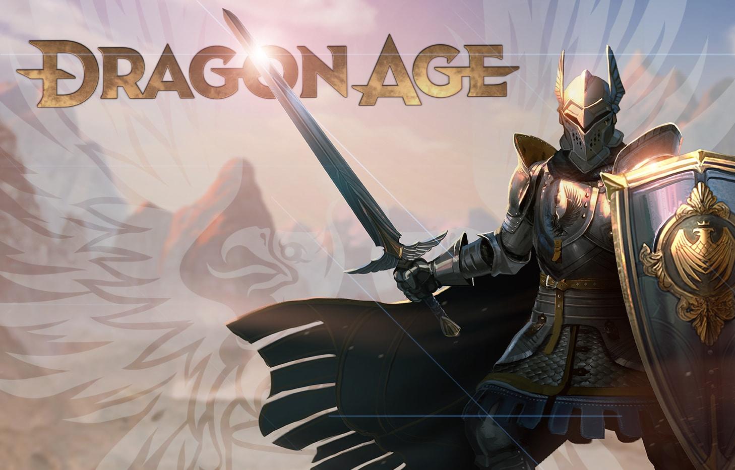 Imagem que tem um cavaleiero segurando um escudo e uma espada na frente que fará parte do novo Dragon Age