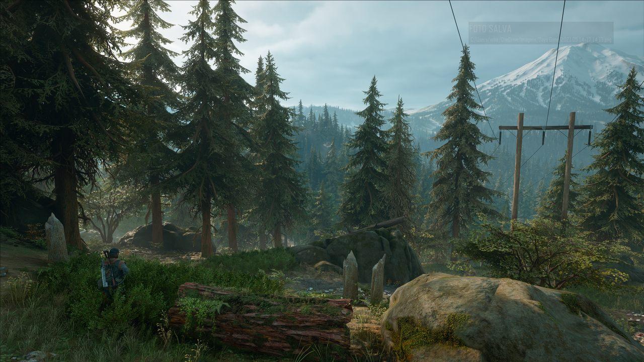 Imagem do protagonista de Days Gone para PC e uma floresta de Oregon com uma montanha no fundo
