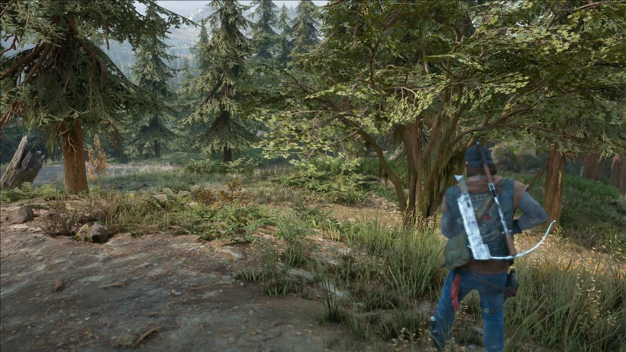 Imagem do protagonista de Days Gone para PC de costas segurando uma arma em uma floresta