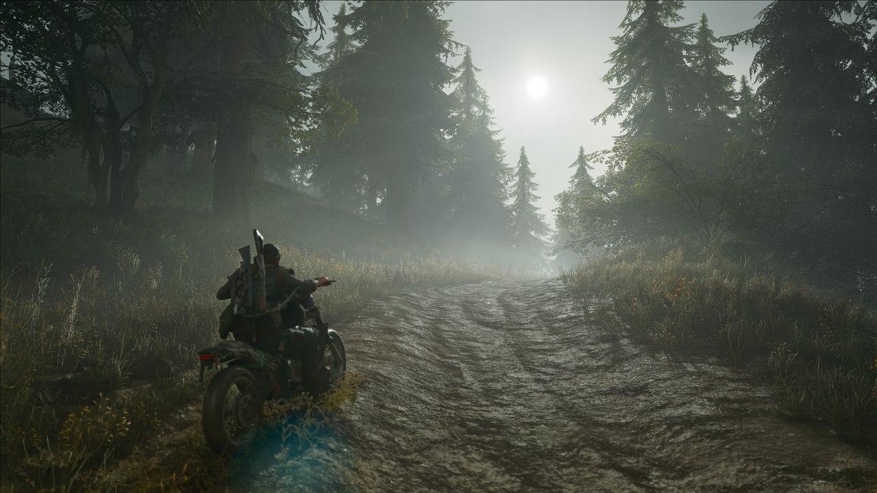 Imagem do protagonista de Days Gone para PC montado em sua moto passando por uma floresta