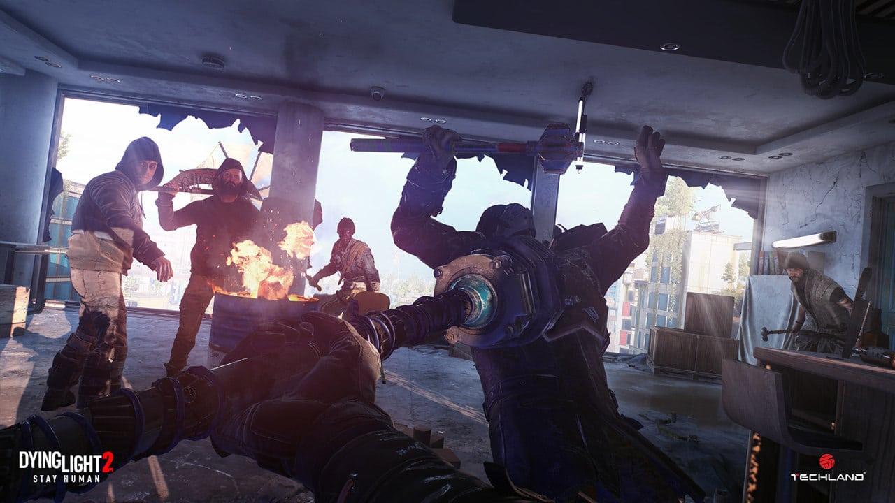 Imagem de capa do jogo Dying Light 2 com o protagonista enfrentando vários inimigos