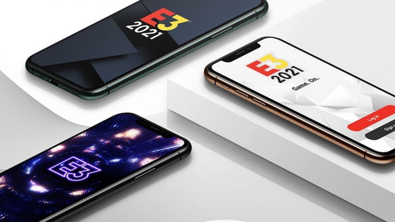 Smartphones com o aplicativo da E3 2021.