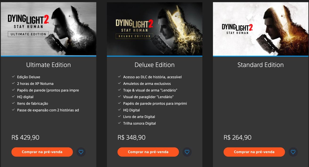 Imagem mostra as três edições de DYING LIGHT 2