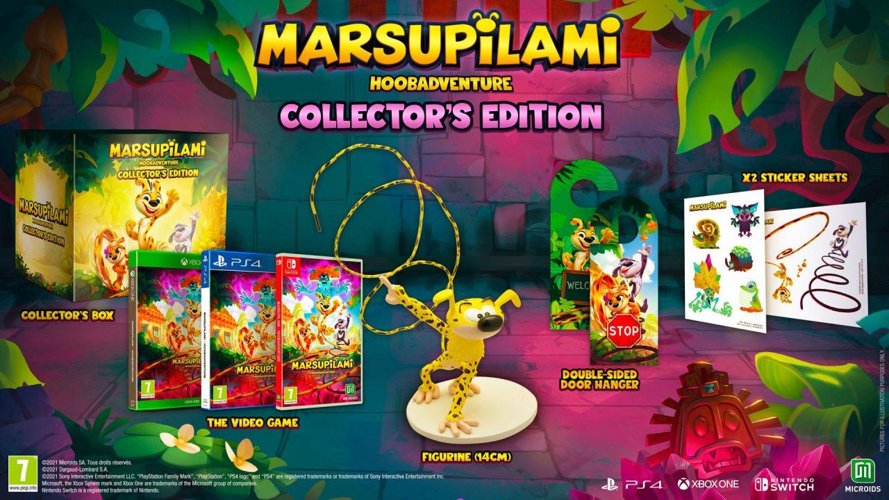 Imagem da edição de Colecionador de Marsupilami: Hoobadventure com a mídia física, estatueta e outros itens da versão