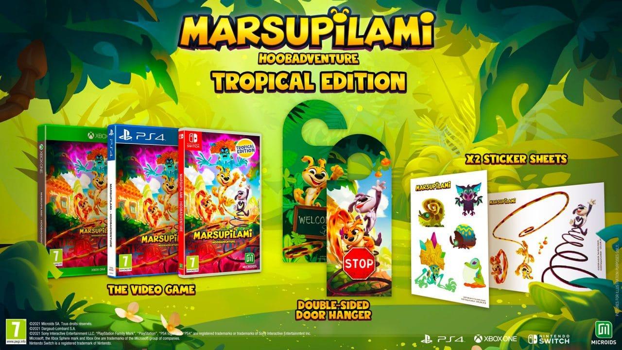 Imagem da edição Tropical de Marsupilami: Hoobadventure com a mídia física do jogo e outros itens da versão
