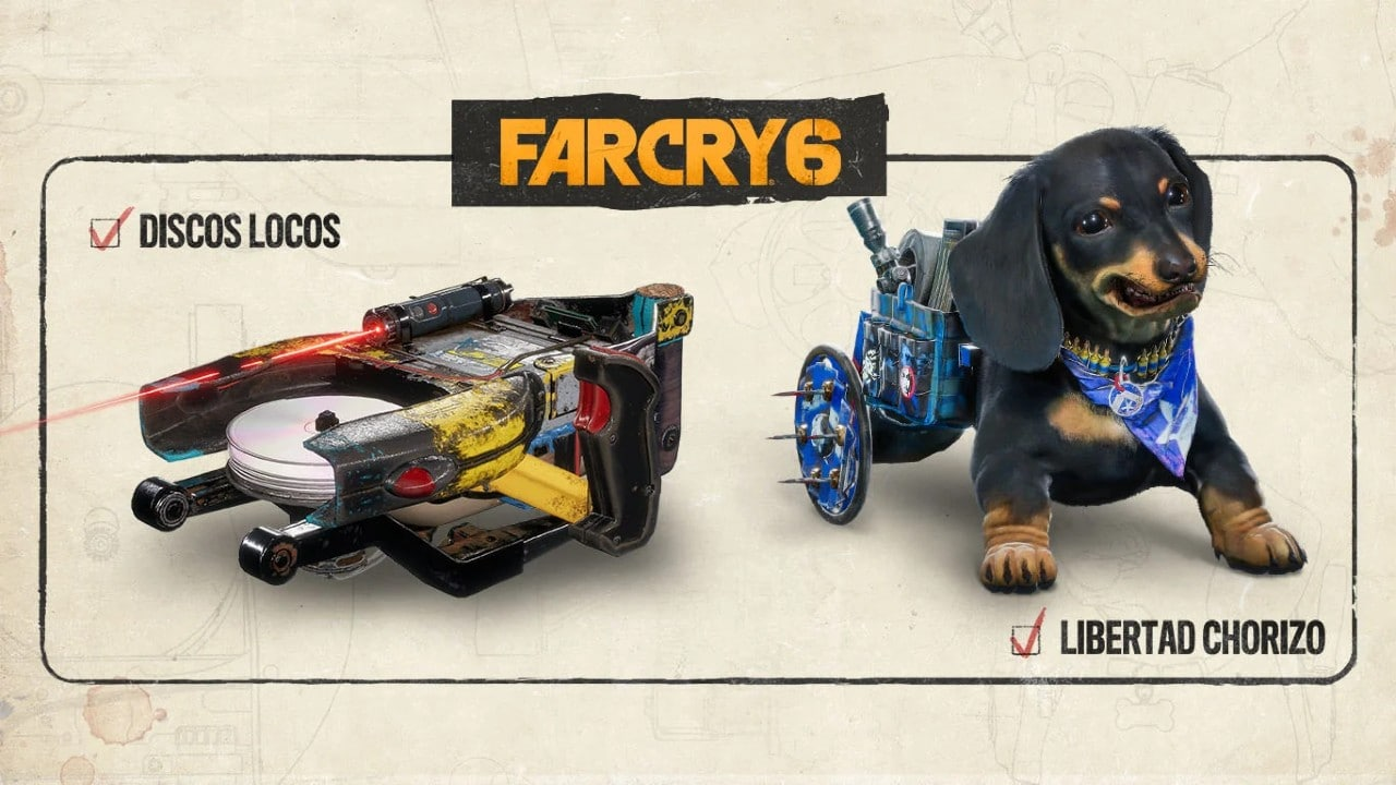 Far Cry 6: itens da pré-venda com lançador de discos e skin para o cachorrinho Chorizo