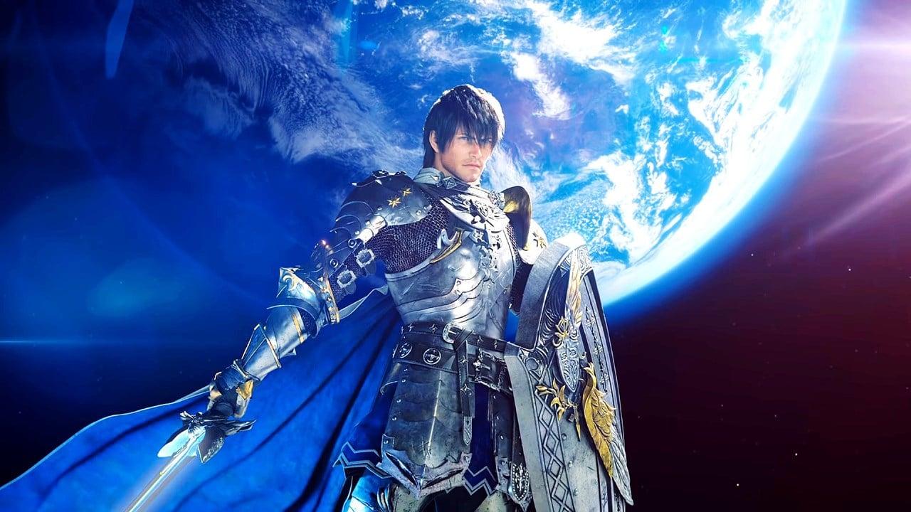 Protagonista de Final Fantasy XIV com escudo e espada em mãos.