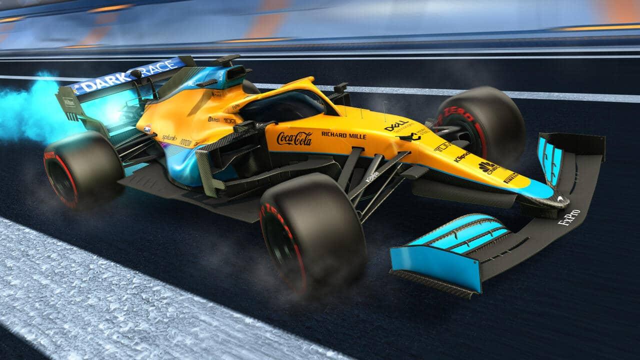 Imagem de um veículo do crossover entre Fórmula 1 e Rocket League