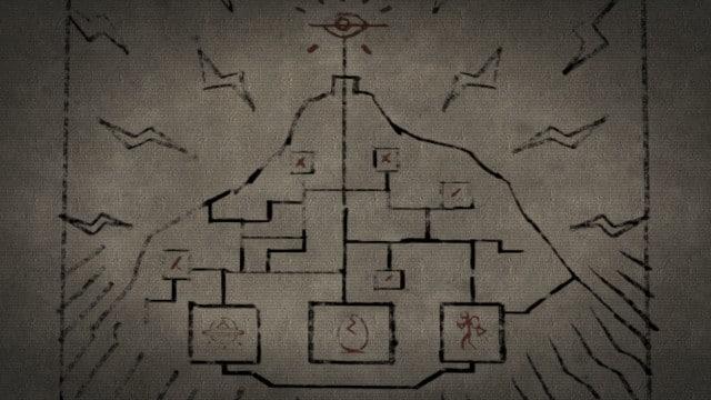 Desenho com símbolos estranhos em uma espécie de montanha.