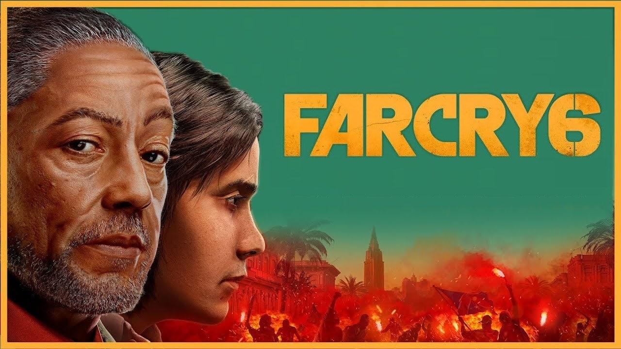 Dois personagens de Far Cry 6 com fundo verde claro.
