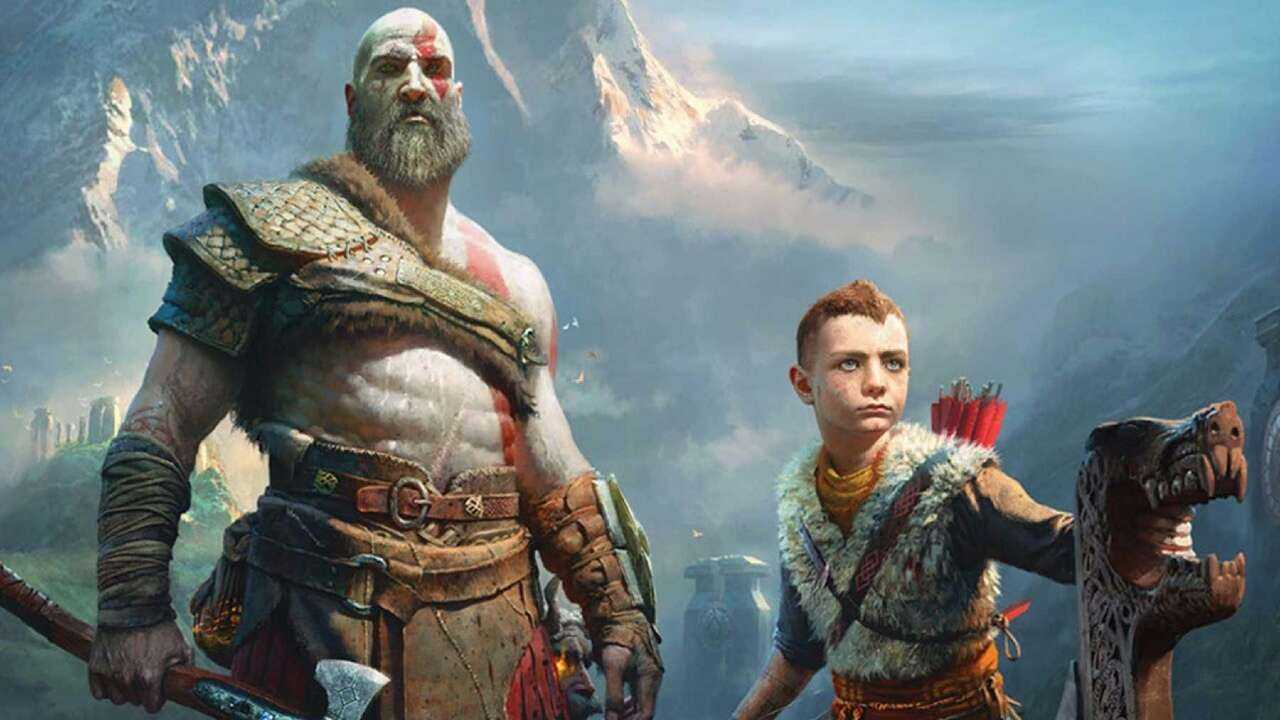 Kratos e Atreus, protagonistas de God of War: Ragnarok, em um barco