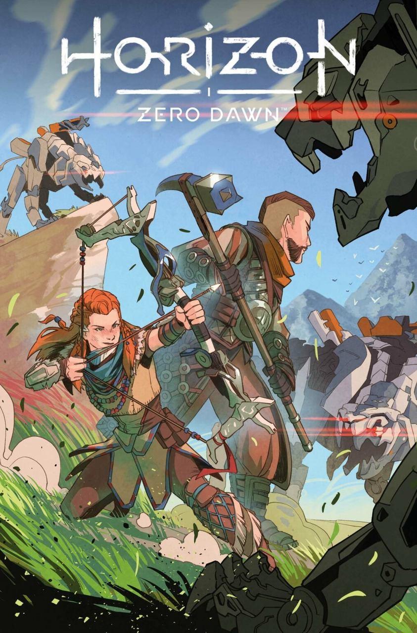 Imagem da Alow apontando um arco e flecha e Erand com martelo cercados por máquinas na HQ de Horizon Zero Dawn