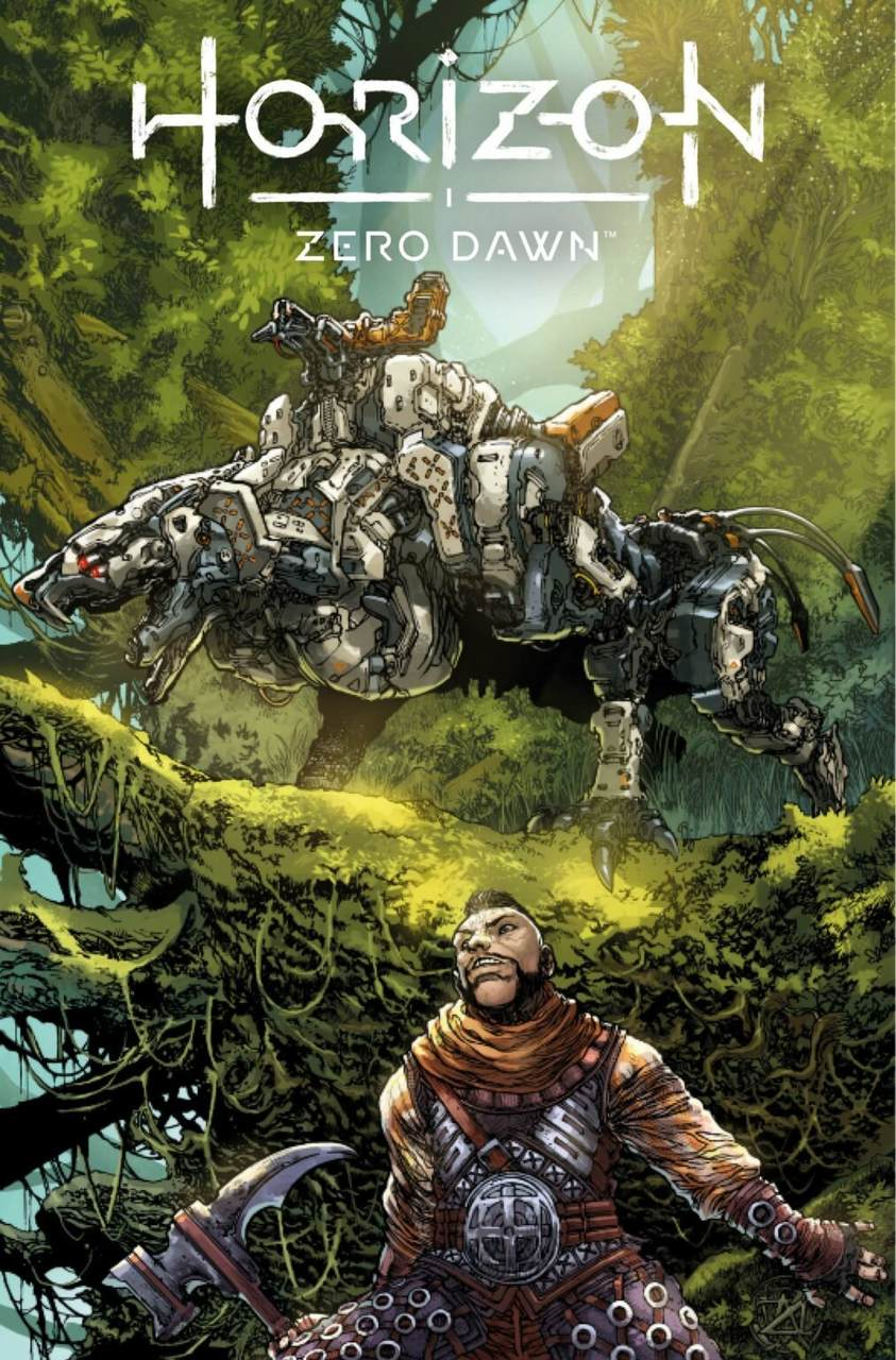 Imagem de uma máquina em uma árvore e o personagem Erand embaixo com um martelo na HQ de Horizon Zero Dawn