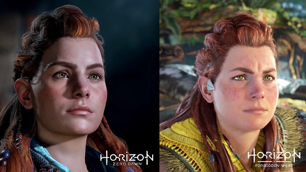 Aloy de Horizon Forbidden West em comparação com o primeiro jogo.
