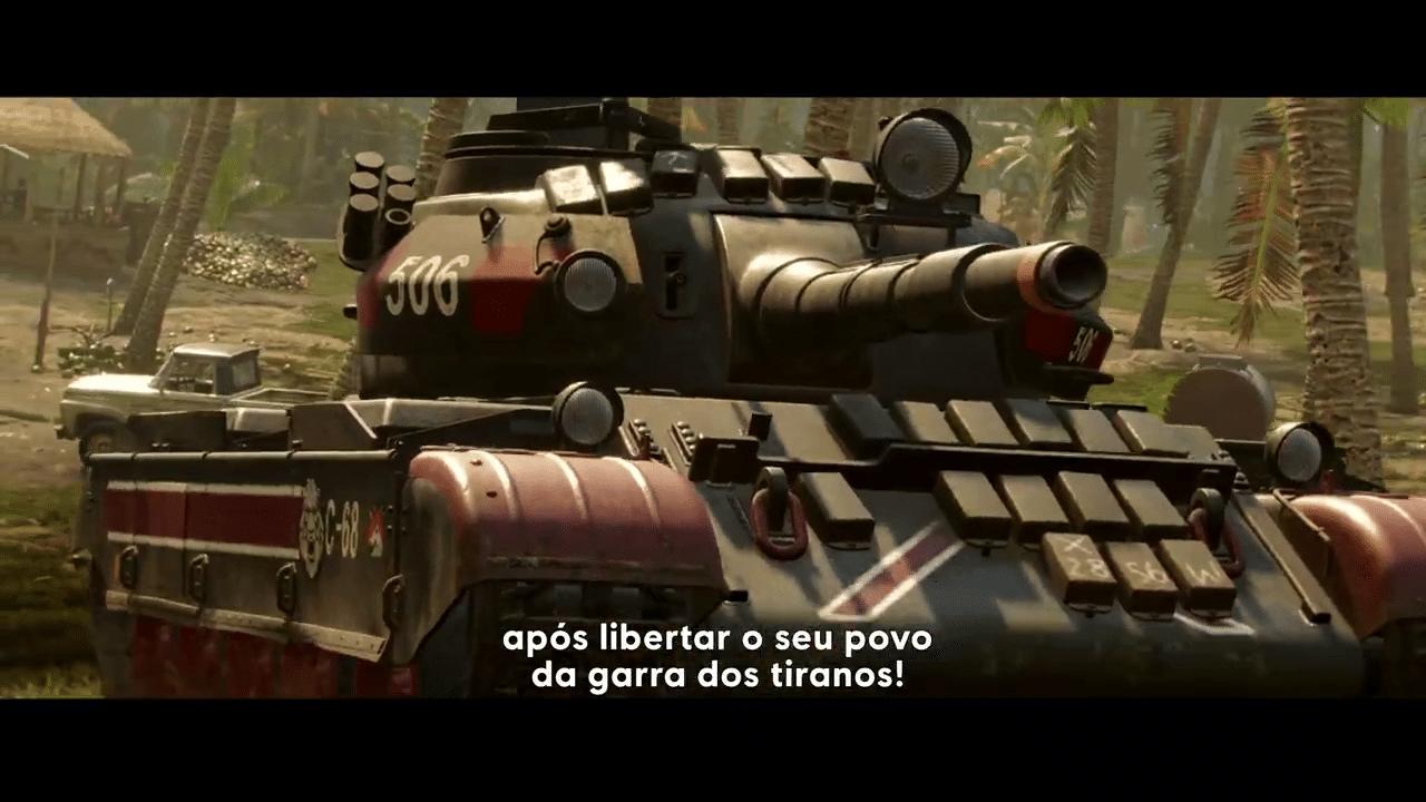 Imagem do gameplay de Far Cry 6 de um tanque