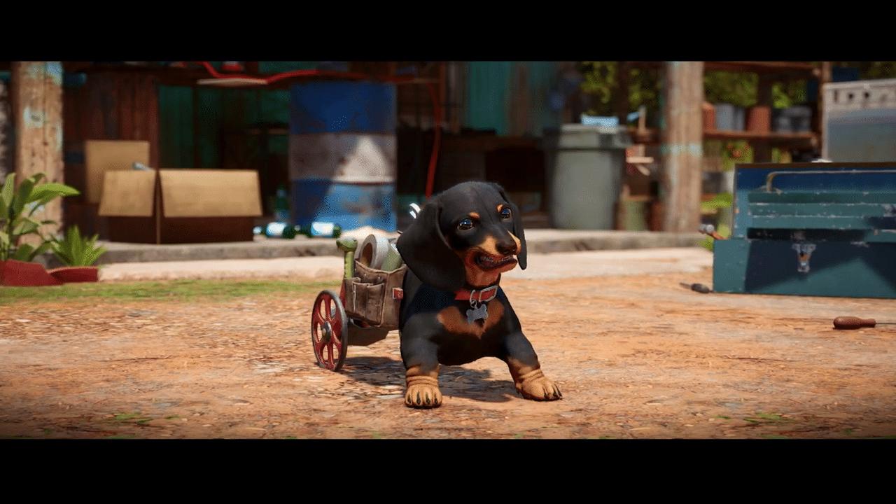 Imagem do gameplay de Far Cry 6 de um cachorro em uma cadeira de rodas fazendo careta