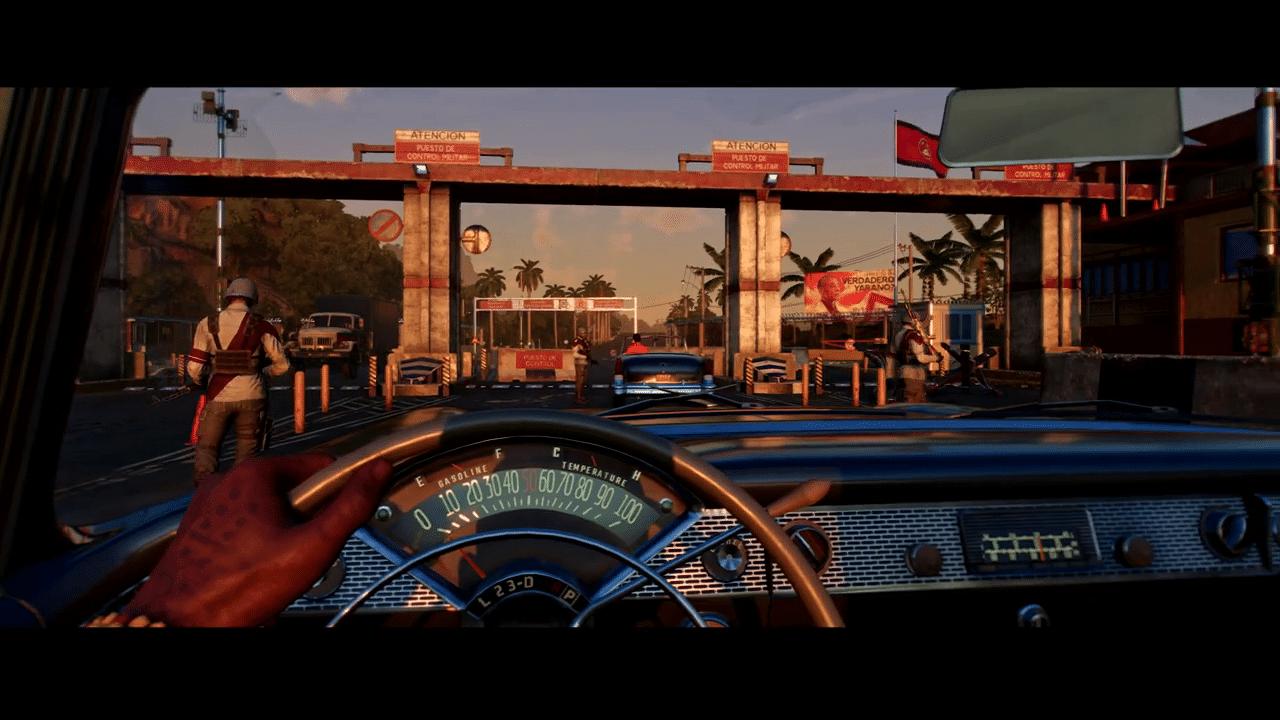 Imagem do gameplay de Far Cry 6 com a protagonista dentro de um carro e inimigos em volya
