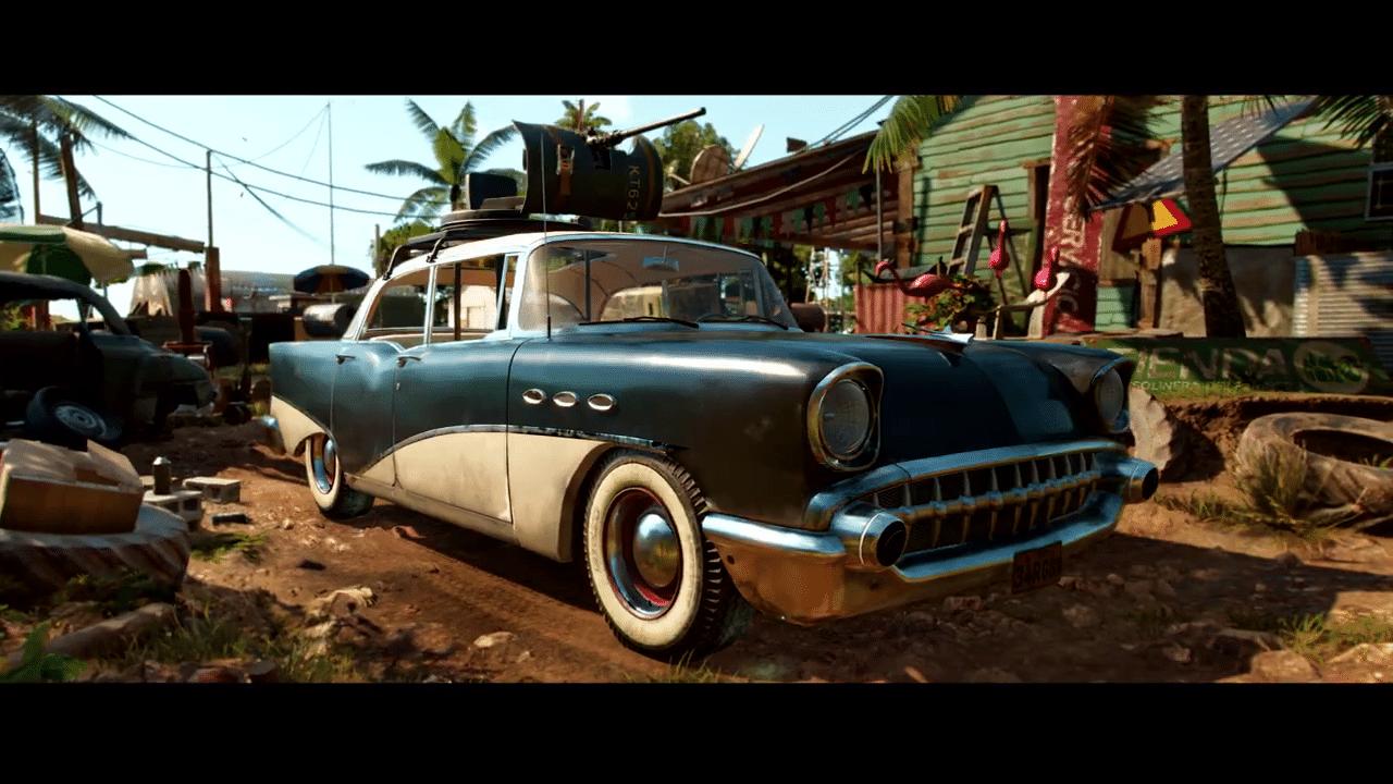 Imagem do gameplay de Far Cry 6 de um carro com uma metralhadora no teto