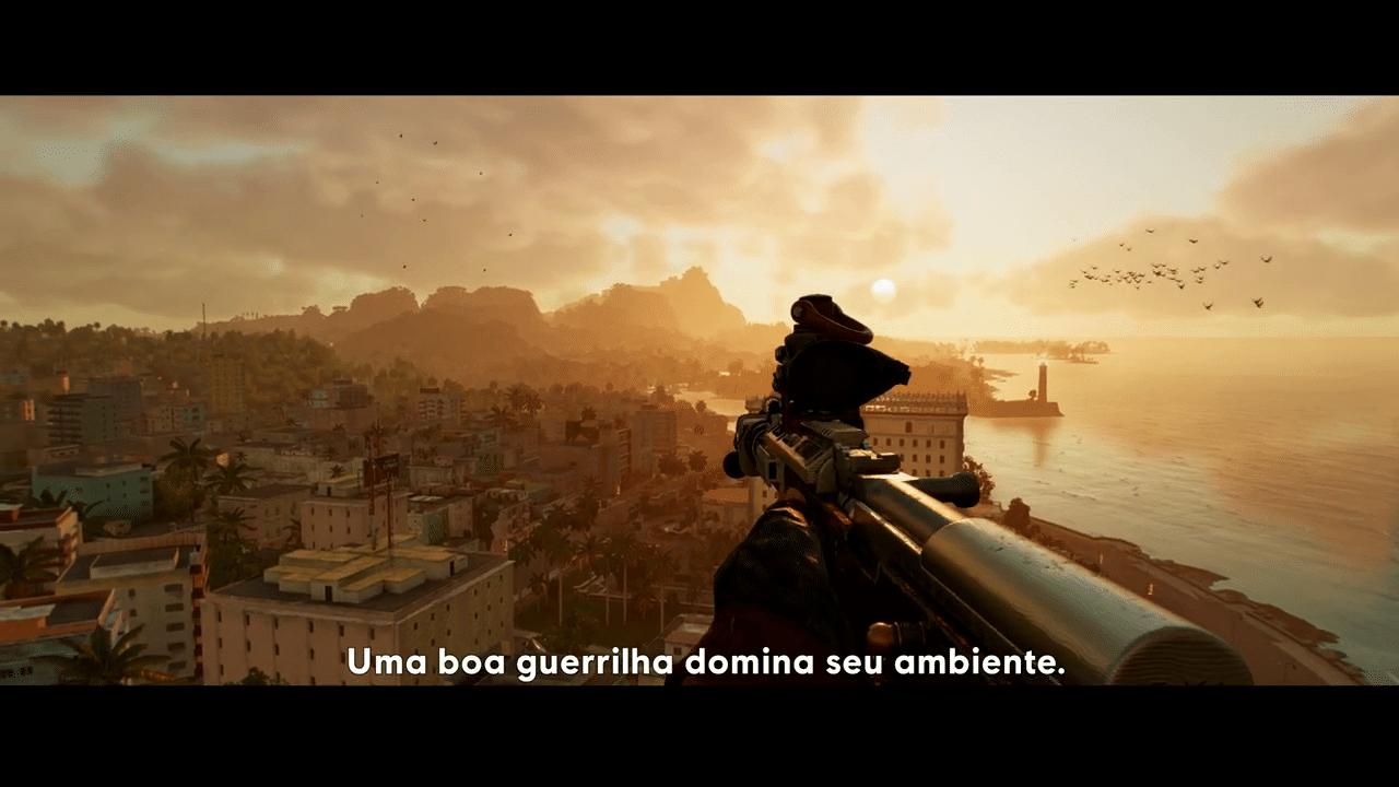"""Imagem do gameplay de Far Cry 6 da cidade """"Yara"""" vista de cima"""
