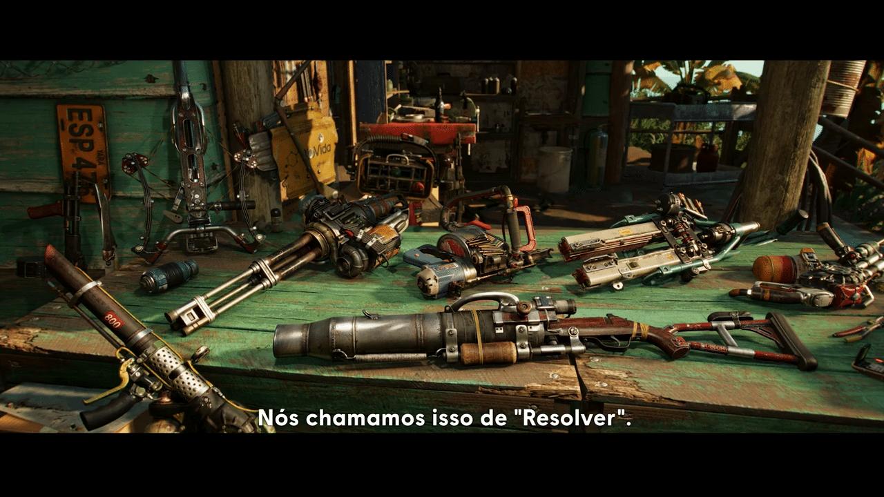 Imagem do gameplay de Far Cry 6 com um arsenal de armas