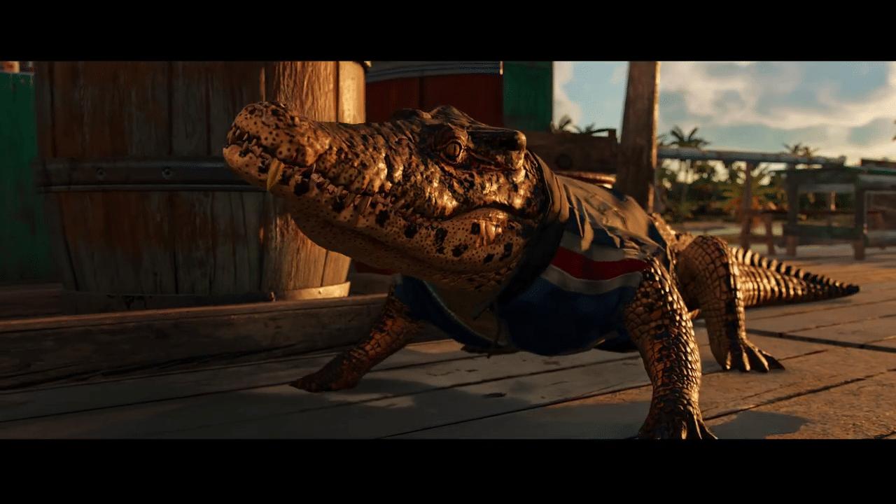 Imagem do gameplay de Far Cry 6 com um jacaré em destaque