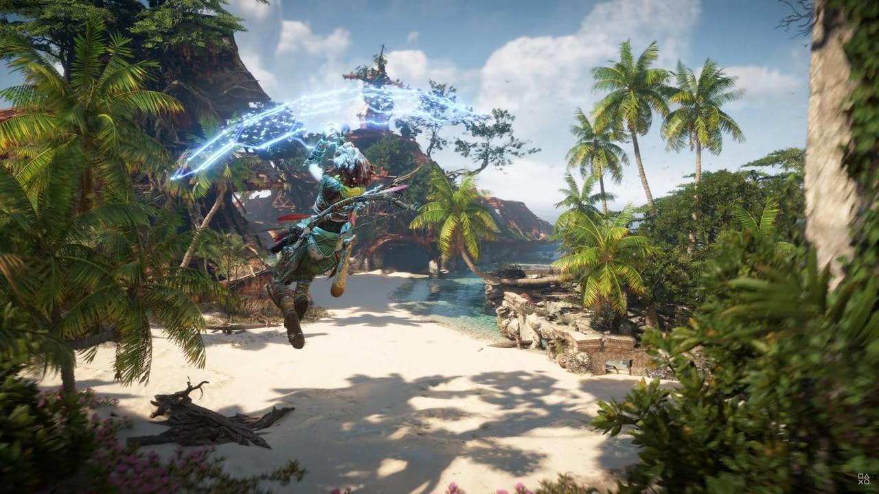 Imagens de Horizon Forbidden West com a protagonista Aloy no ar com um planador tecnológico