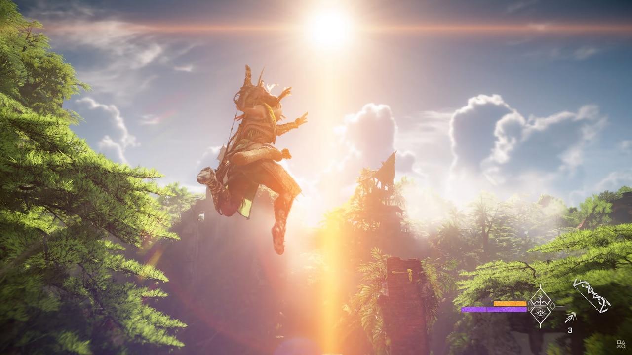 Imagens de Horizon Forbidden West com a protagonista Aloy no ar com o sol ao fundo
