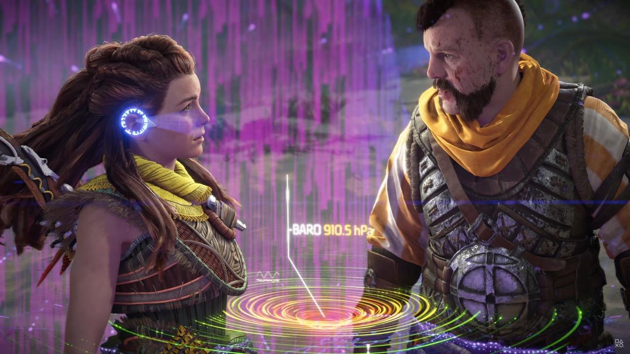 Imagens de Horizon Forbidden West com a protagonista Aloy e seu amigo Erend se olhando