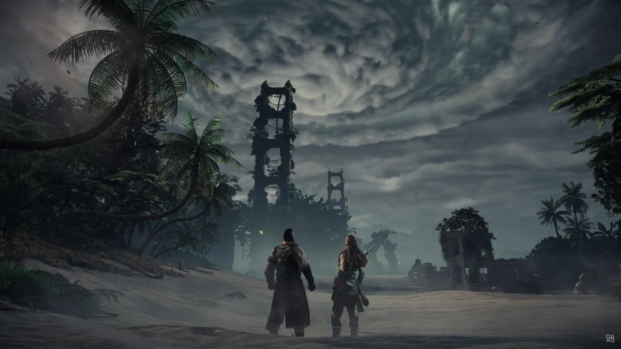 Imagens de Horizon Forbidden West com a protagonista Aloy e seu amigo Erend encarando uma tempestade no fundo
