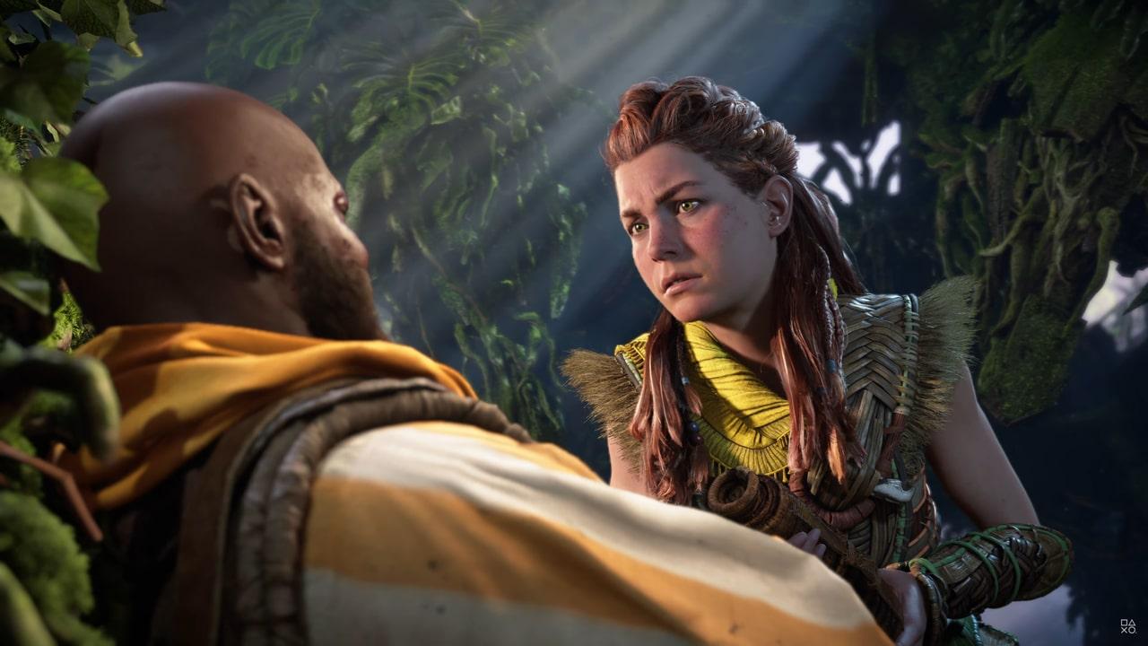 Imagens de Horizon Forbidden West com a protagonista Aloy encarando outro personagem