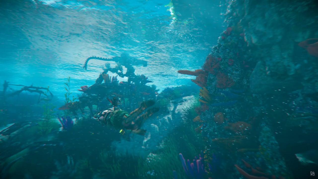 Imagens de Horizon Forbidden West com a protagonista Aloy debaixo da água