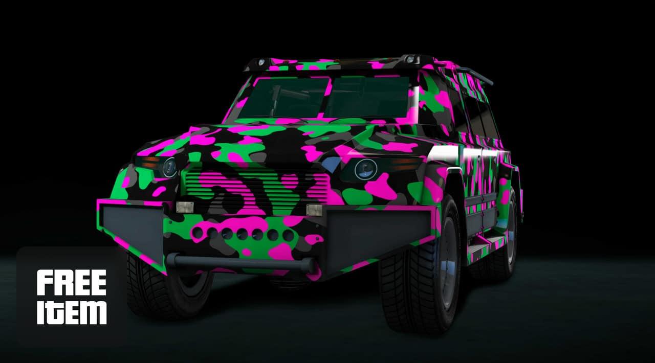 Imagem de capa de um carro de GTA Online com uma estampa colorida