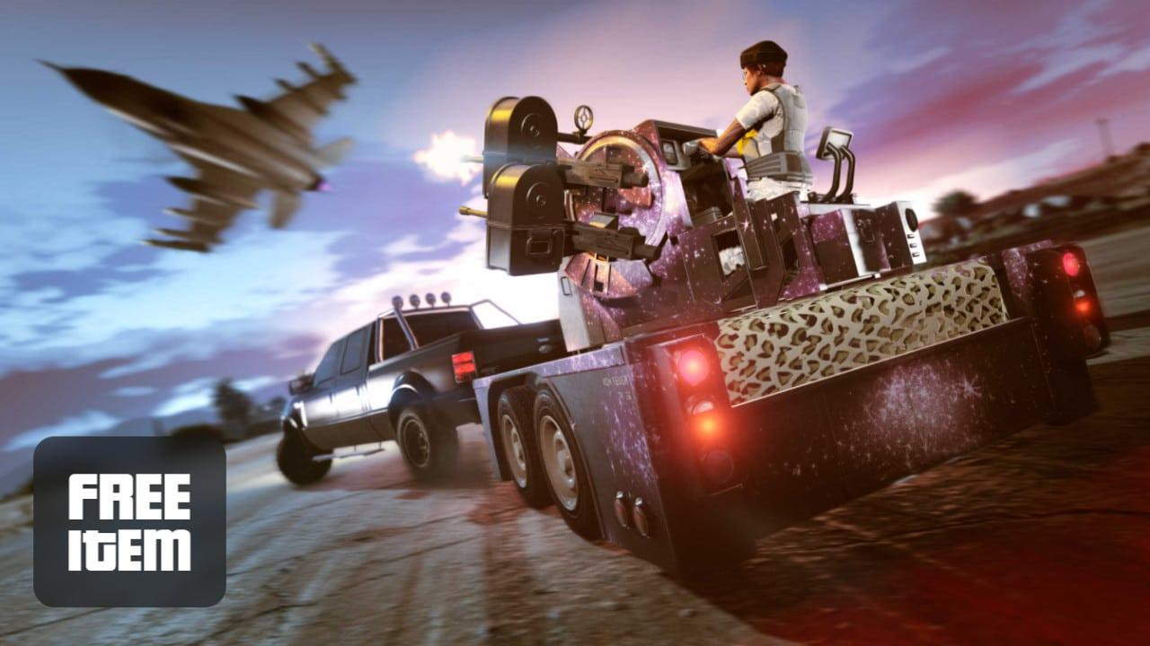 Imagem de capa de um veículo com uma metralhadora e um personagem de GTA Online atirando em uma aeronave