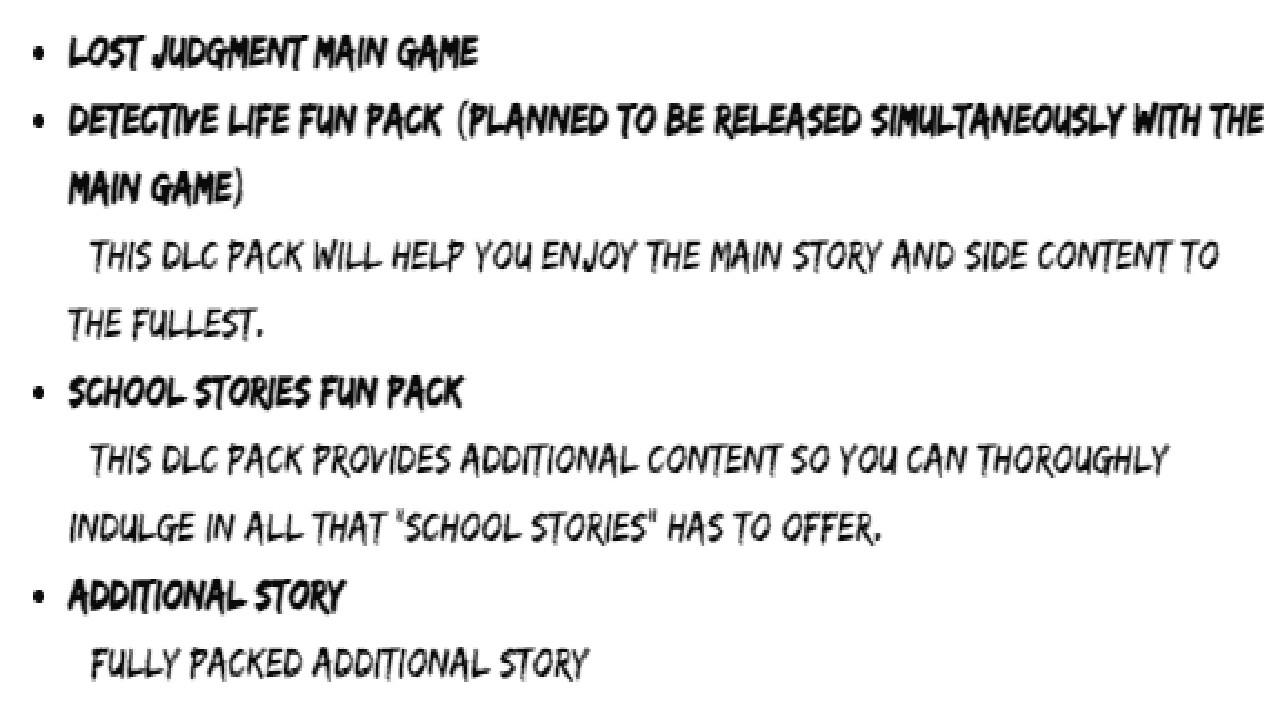 Lost Judgement - DLC e Season Pass