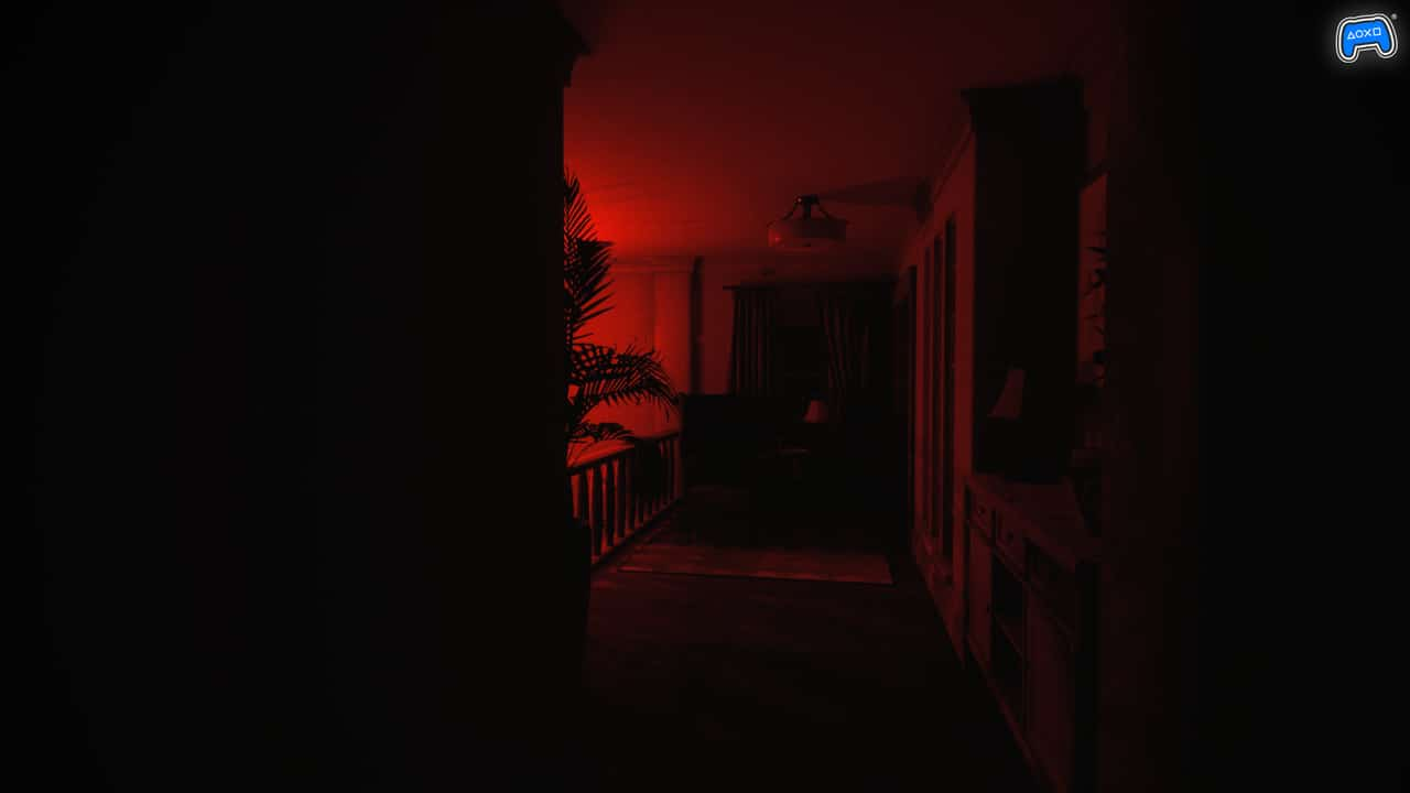 Imagem de Luto, jogo de terror psicológico, em uma casa com uma luz vermelha