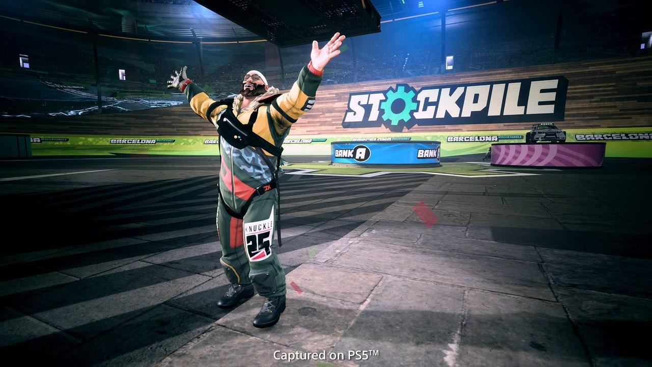 Imagem tirada no modo foto de Destruction AllStars com um personagem em pé com as mãos para o alto