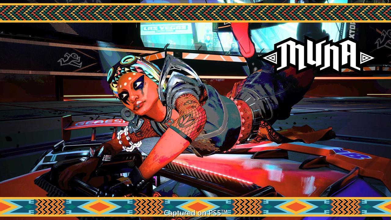 Imagem tirada no modo foto de Destruction AllStars com uma personagem deitada em cima de um veículo