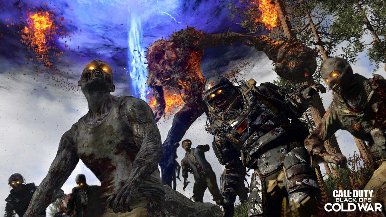 Imagem de capa com zumbis e um novo monstro da atualização de Warzone e Black Ops Cold War