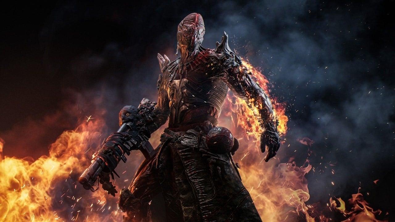 Personagem de Outriders em meio às chamas segurando uma arma.