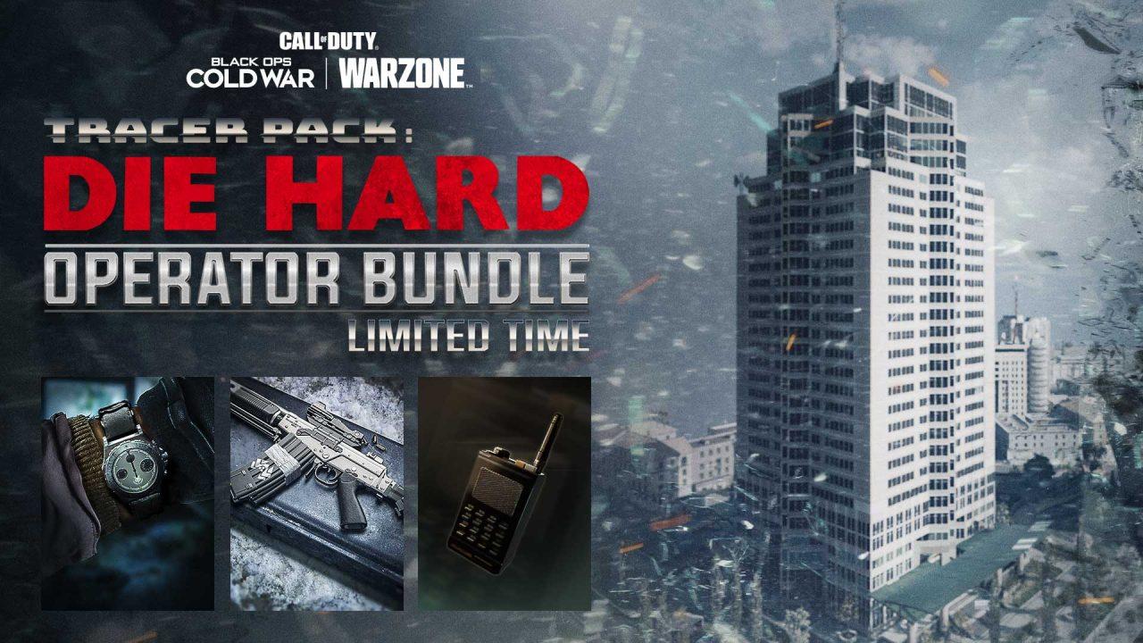 Imagem do pacote do operador John McClane, de Duro de Matar, em Warzone e Black Ops Cold War, com um prédio ao lado