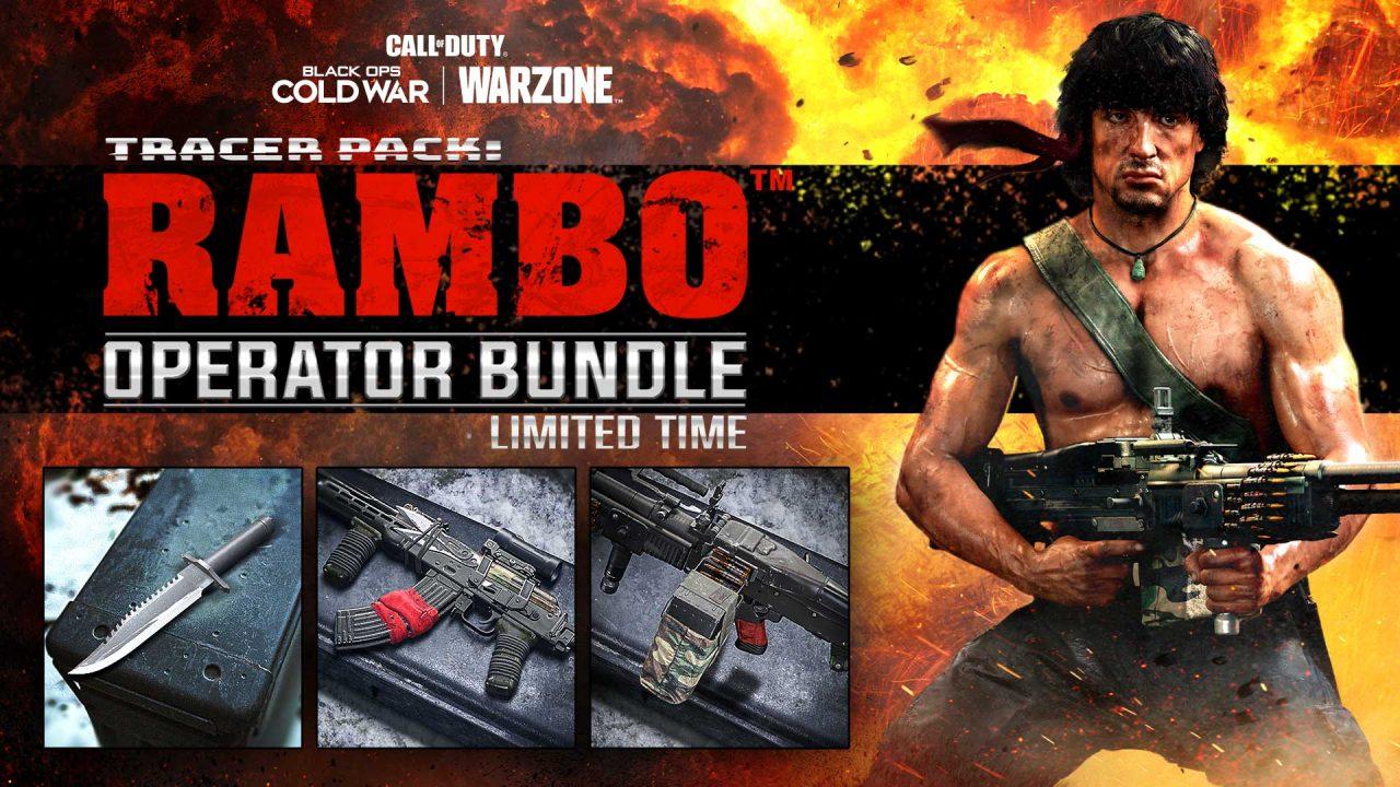 Imagem do pacote do Rambo em Warzone e Black Ops Cold War, com o personagem segurando uma arma