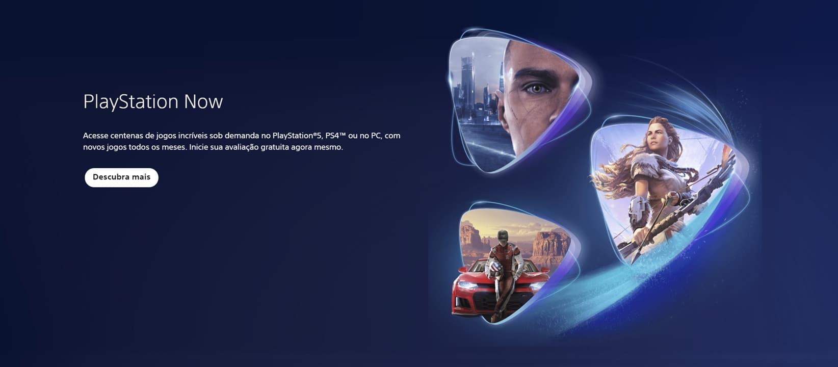 Logo da PlayStation Now em azul com vários ícones de jogos da casa.