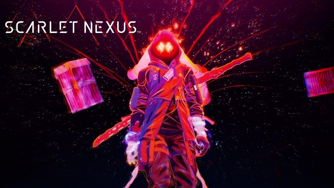 Imagem de capa do protagonista de Scarlet Nexus em vermelho e com uma espada nas costas, ao lado há a logo do game